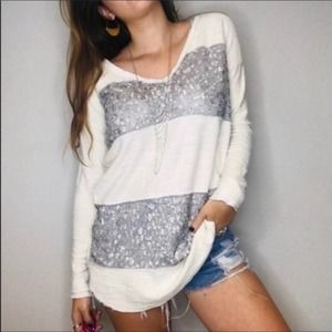 Free People Cream Knit Silver Sequin V-Neck Top